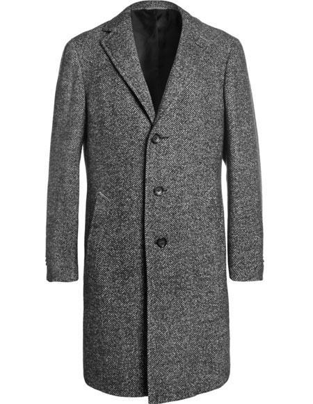 Mens Dress Coat Single breasted Tweed ~ Herringbone 3 Button Grey Notch Lapel Topcoat Full Length By Alberto Nardoni Overcoat