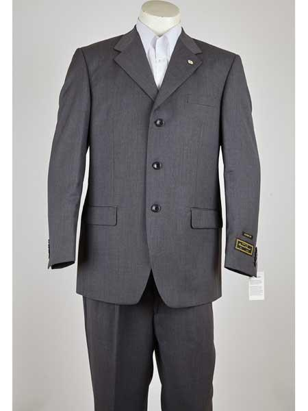Three Button Mens Notch Lapel Grey Single Breasted Suit