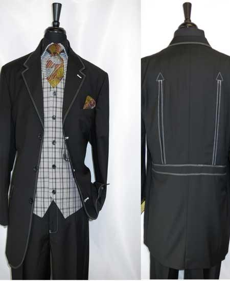 Mens Grey Trimmed 3 Button Notch Lapel Single Breasted Vest Belted Back Black Three Buttons Style suit