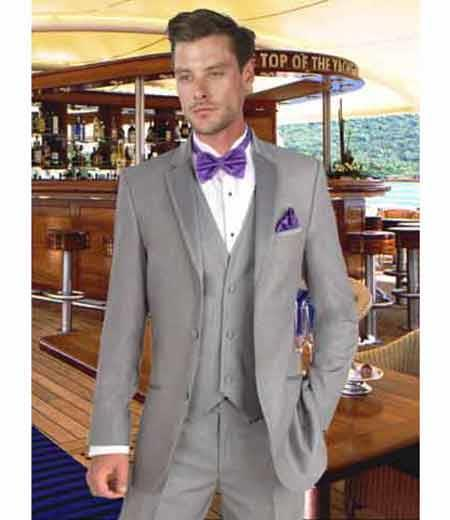 Mens Grey Tuxedo Suit With Matching 3 Button Vest