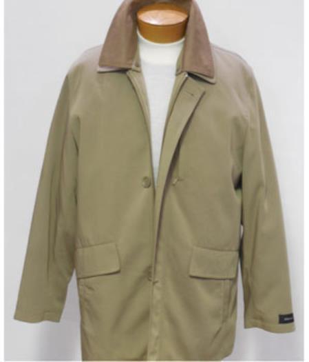 Men's Dress Coat Khaki 3/4 Rain Coat