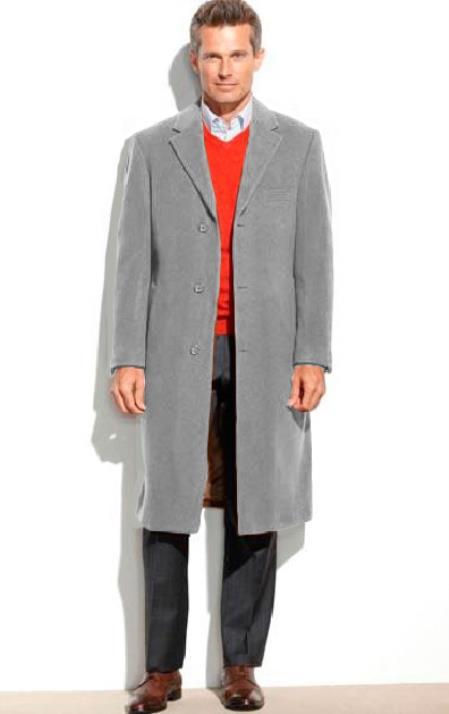 Mens Dress Coat Light Gray 3 Button 65% Wool full length Overcoat ~ Topcoat (Cashmere Touch (not cashmere))