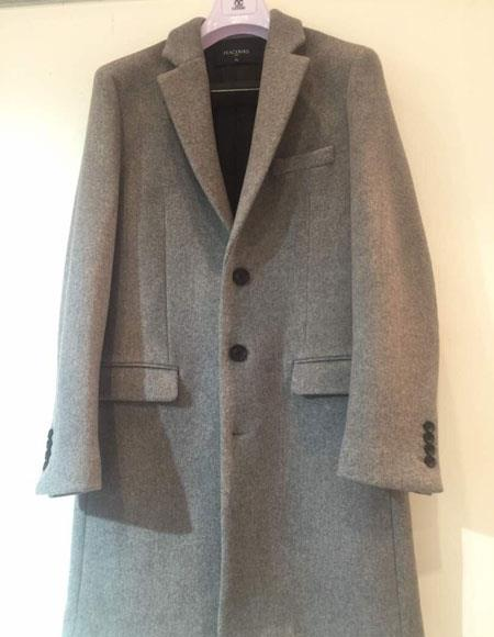 Mens Dress Coat Single Breasted 3 Button Light Grey ~ Gray Notch Lapel Cashmere Overcoat