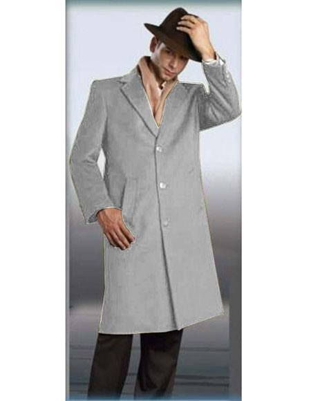 Light Grey Authentic Alberto Nardoni Brand Full Length Coat Long Men's Dress Topcoat -  Winter coat