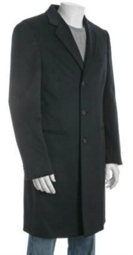 38 inch Three-button Notch Lapel Side Vented navy blue Wool-Blend 3 buttons overcoat