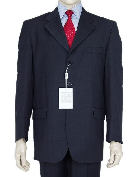SKU# Z165BL Classic Navy Blue 3 Button Business Suit w/Double Vent Jacket Super 140's Wool