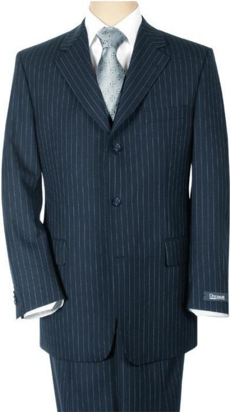 Conservative Dark Navy Blue Pinstripe premier quality three buttons style italian fabric Super 140s 100% Wool (Wholesale Price available)