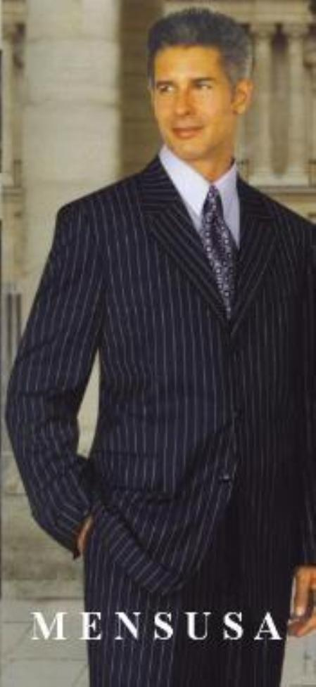 SKU# Gkl2 Bold Chalk Pronounce Dark Navy blue & White Pinstripe 3 Buttons Super 140s Wool Feel Poly ~ Rayon Suits