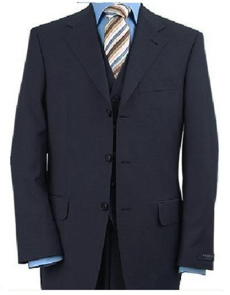 SKU#3BV1P 3 Piece Dark Navy Blue Vested 3 ~ Three Piece Suit Premier Quality Online Sale Clearance Fine Quality 100% Wool Available in 2 or 3 Buttons Style Regular Classic Cut $165 (Wholesale Price available)