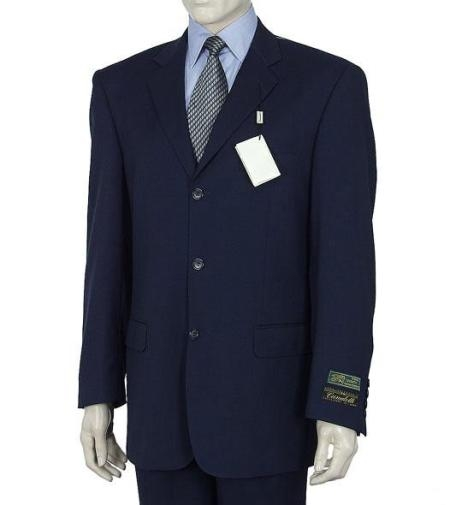 SKU# MLD245 3 Button Dark Navy Blue Men's Suit HIGH GRADE Super 150's Wool Made In Spain