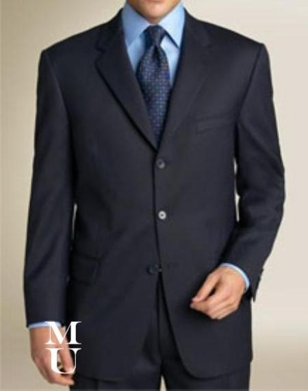 Deal Navy Blue Suit features classic three button 100% so