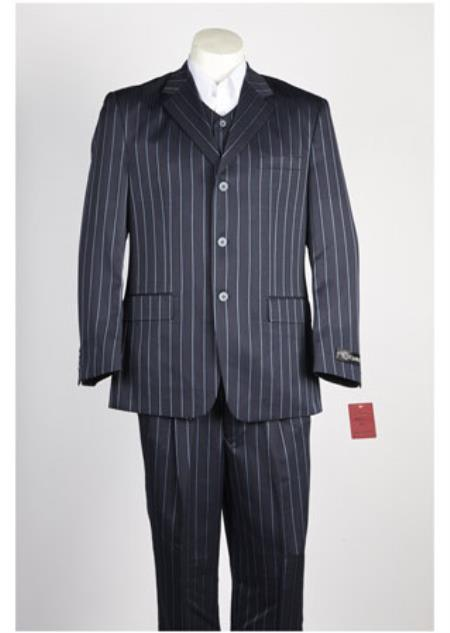 Mens Bold Gangster Chalk Stripe 3 Button Single Breasted LinSuit Dark Navy and Sky Baby Blue stripe Vested Suit Pleated Pants