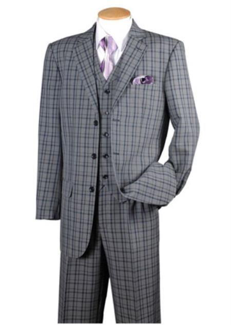 Mens Dark Navy 3 Piece Plaid Window Pane 3 button Vested Suits Pleated pants