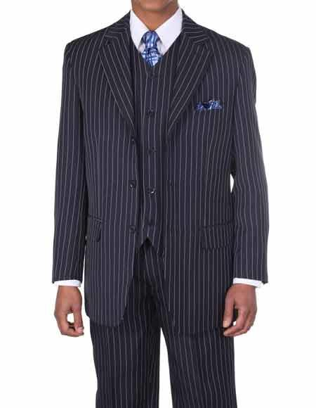 Mens 1920's 30's Fashion Look Available in 2 or Three ~ 3 Buttons Vested Dark Navy/White Pinstripe ~ Stripe With Vest Bold Chalk Stripe 3 Piece Suit