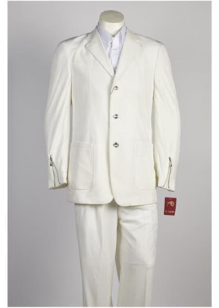 Mens 3 Button Offf White Suit