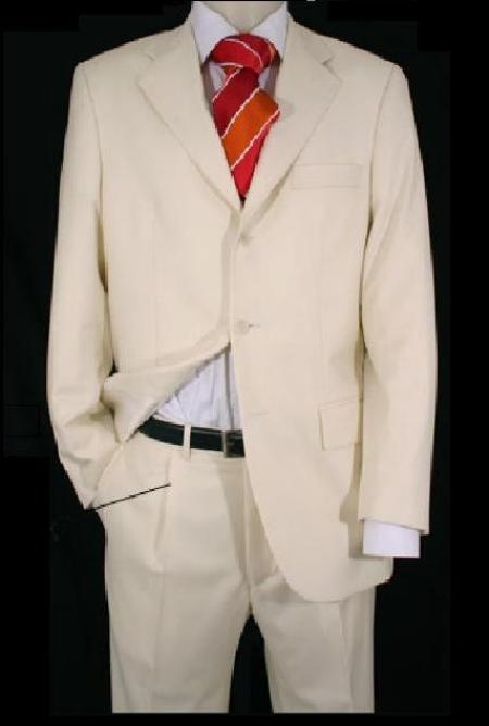 Mens Ivory/Off White 2 Or 3 Button Suit Light Weight Plea