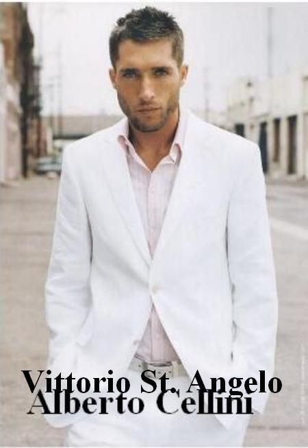 SKU# BW9 Vittorio Angel White 3 Button Suit