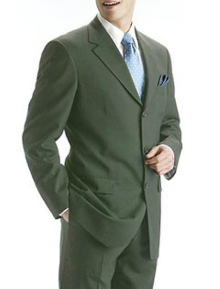 SKU#MANA_103_069 Mens Olive Green 100% Pure Wool Feel Rayon Viscose (SUPER 100) 3-Button