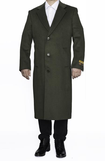 Mens Dress Coat Full Length Wool Dress Top Coat / Overcoat in Olive Green
