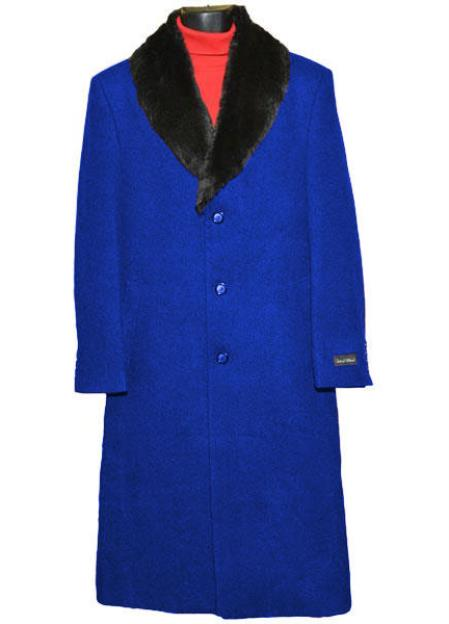 Buy Coat-03SM4436 Men's Royal Blue 3 Button Wool (Removable ) Fur Collar Single Breasted Full Length Overcoat ~ Topcoat 65% Wool full length Fabric Also