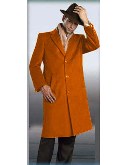 Mens Rust Authentic Alberto Nardoni Brand Full Length Coat Long Mens Dress Topcoat -  Winter coat