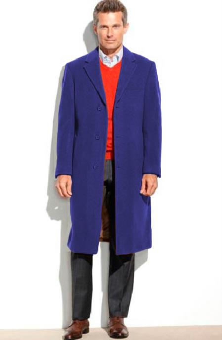 Mens Dress Coat 65% Wool full length Sapphire Notch Lapel Overcoat ~ Topcoat (Cashmere Touch (not cashmere))