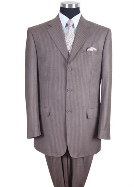 Mens Tan ~ Beige Pinstripe ~ Stripe 3 button Suit Pleated Pants