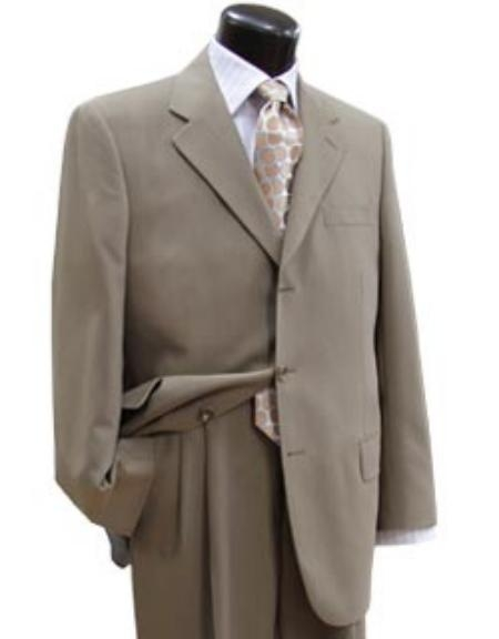 Taup/Tan ~ Beige Super 100s Wool Business Discounted Cheap Priced Business Suits Clearance Sale Available in 2 or 3 Buttons Style Regular Classic Cut