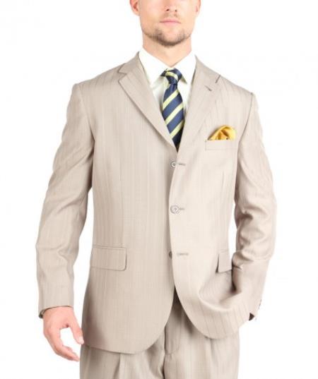 Tazio Suit Three Button Tone on Tone Shadow Stripe ~ Pinstripe Traditional Fit -Tan ~ Beige