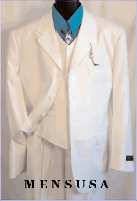 TS03V WHITE EXTRA FINE Light Weight Soft Fabirc 3PC VESTED Suits For Men.