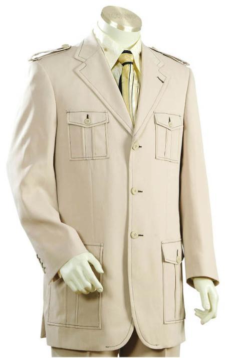 SKU#DS4561 3 Button Cane Beige Mens Suit