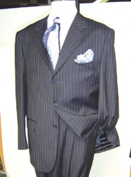 SKU#GTS340 Mens Dress Pinstripe 3 Buttons Mens Business Soft & light Weight Fabric Suit