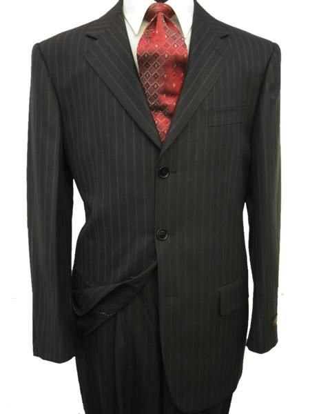 SKU# UBA584 High Quality MU28 Black & Smooth Dark Gray Pinstripe Business 2 or 3 Buttons Super 140s