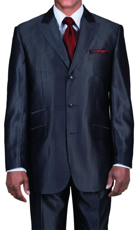 Ticket Pocket 3 Button Peak Lapel Black Sharkskin Shiny Metallic Jacket & Pants Cheap Priced Business Suits Clearance Sale