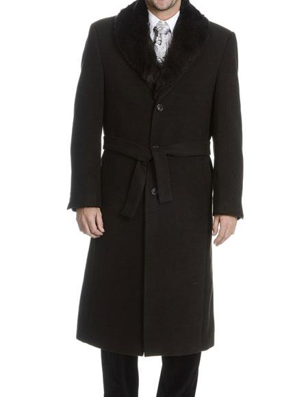 Mens Dress Coat Black Single Breasted Faux Fur Collar Wool 3 Buttons Style Overcoat (Belt is not included)