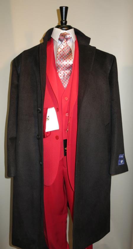 Men's Dress Coat 3 Button Long Wool Blend Black color full length overcoat  Winter Men's Topcoat Sale
