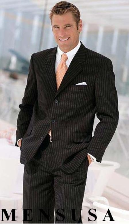 SKU# JSW133 $1295 TSk7 Dress To Impress Black & Gorgeous Pinstripe 3 Buttons Pinstripe Ultimate Wool & Tayloring