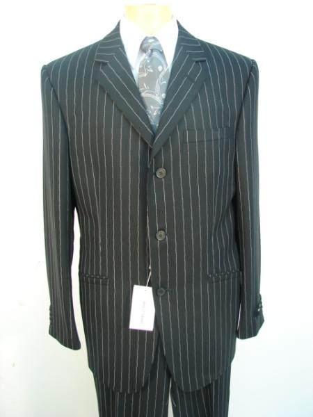 Stripe ~ Pinstripe Three ~ 3 Buttons Jet Black Chalk Super 120s Worsted Super fine Wool feel poly~rayon