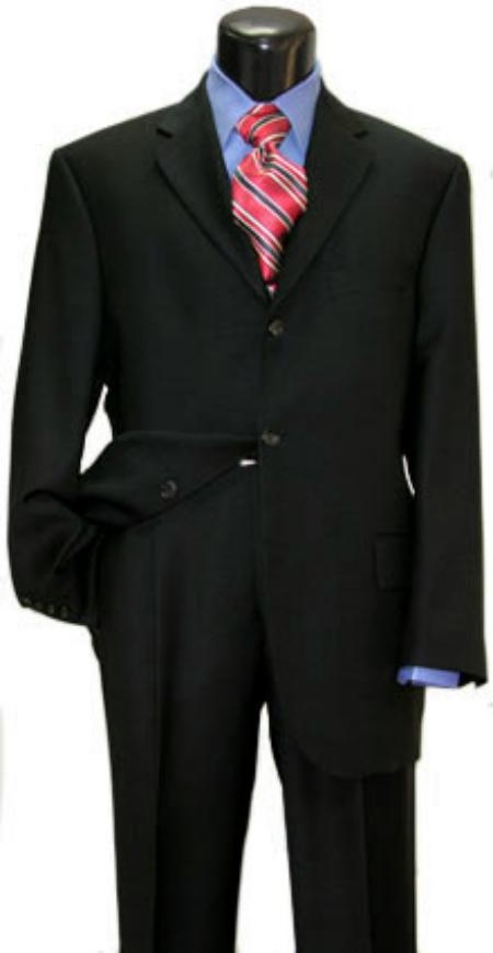 SKU# Z3150 Black Super 150s Wool Mens Suits 3 Buttons Vented