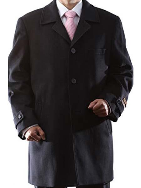 Mens Dress Coat 3 Buttons Three Quarter Length Notch Lapel Black Luxury Wool/Cashmere Topcoat