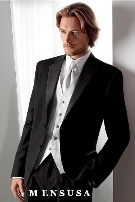 High Quality 3 buttons Notch Lapel Side Vented Super 120s wool feel poly~rayon Tuxedo + White Shirt+White Tie+White Vest