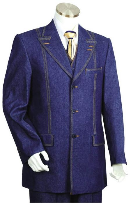 SKU#AV2485 3 Button Blue Men's Suit