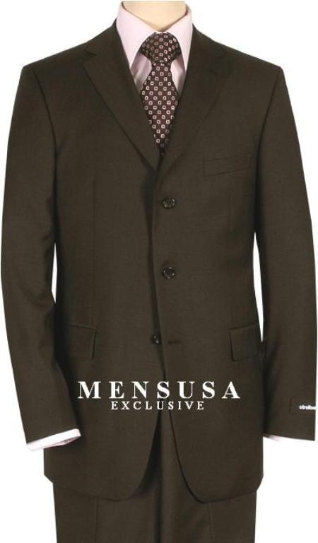 SKU# YOS439 Double Vent Dark Brown 3 Buttons Mens Dress Business Suits