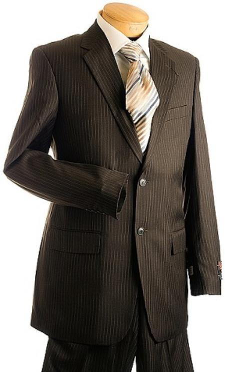 3 Button Brown Pin Stripe ~ Pinstripe Men's Suit Brown 2 Piece Suits - Two piece Business suits Suit