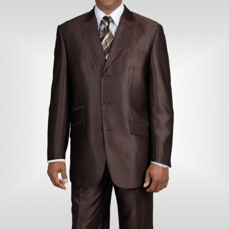 Ticket Pocket 3 Button Peak Lapel Brown Sharkskin Shiny Metallic Jacket & Pants Cheap Business Suits Clearance Sale
