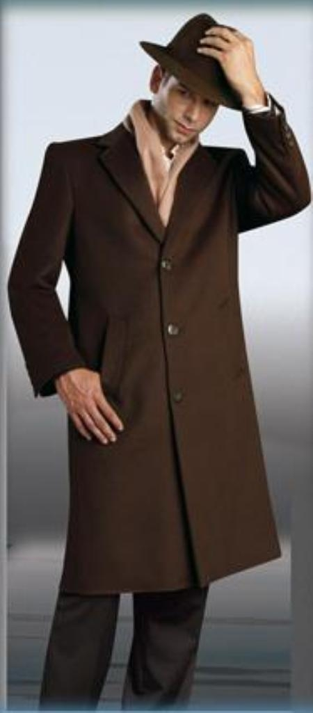 Mens Dress Coat Chocolate Brown Topcoat  ~ Overcoat 45\