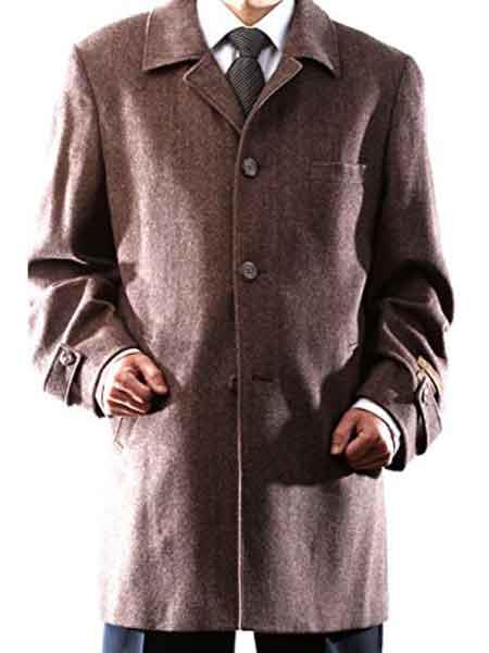 Three Quarters Length Mens Dress Coat 3 Buttons Long Jacket Brown Herringbone Notch Lapel Luxury Wool/Cashmere Back Vent Carcoat ~ Designer Mens Wool Peacoat Sale Overcoat ~ Long Mens Dress Topcoat -  Winter coat  Tweed houndstooth checkered Pattern