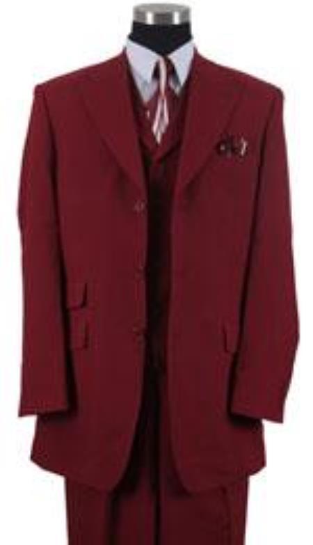 Mens Peak Lapel Vested 3 Piece Ticket Pocket Vested Three ~ 3 Buttons Wide Leg Pants Burgundy ~ Wine ~ Maroon