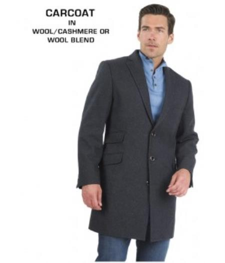 Mens Dress Coat 3 Button Fully Lined Charcoal Grey Wool & Cashmere Carcoat ~ Car coat