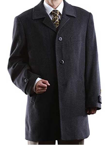 Mens Dress Coat Luxury Wool/Cashmere 3 Buttons Charcoal Long Mens Dress Topcoat -  Winter coat